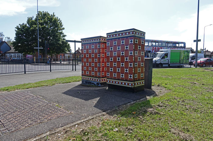 Tile signal control box art on Beverley Road, Hull by Lydia Caprani. Commissioned by Hull City Council. Greenwood Ave junction.