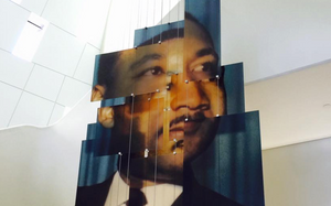 The face of Martin Luther King, Jr. is represented in a mobile sculpture inside The Center for Civil and Human Rights in Atlanta.