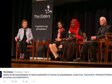 The Elders Meet to Discuss Women in Peacebuilding Roles