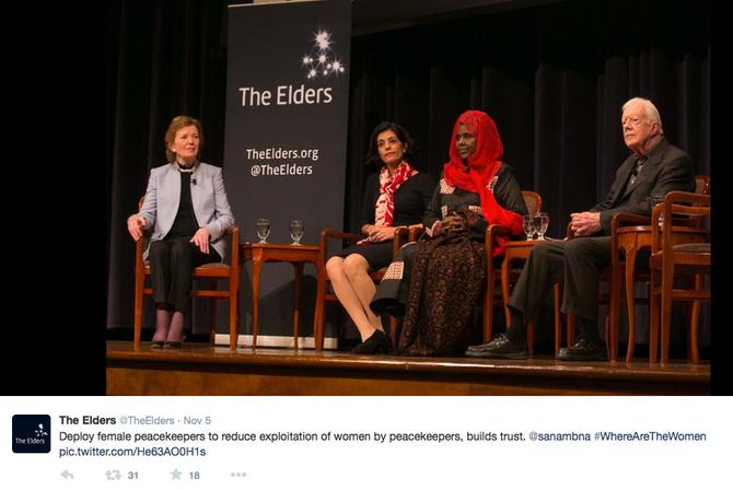 The Elders Meet to Discuss Women in Peacebuilding Roles