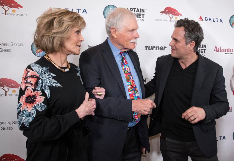Jane Fonda and Ted Turnr with Mark Ruffalo in Atlanta on December 8, 2017.