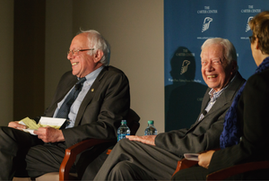 Senator Bernie Sanders of Vermont and former U.S. President Jimmy Carter spoke at the Carter Center's Human Rights Defenders Forum in Atlanta on May 8, 2017.