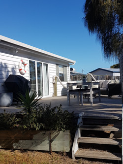 Large westerly deck with BBQ