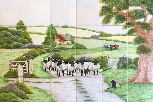 Hand painted tiles, sheep walking down a country lane