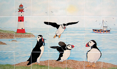 Hand painted Puffin Seaside scene