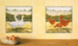 Geese and Hen tiles shown in the kitchen