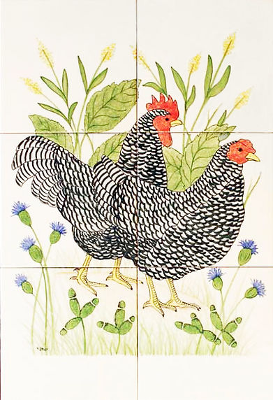 Hand painted country tiles Maran Hens