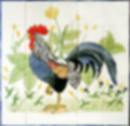 Hand Painted French Cockeral scene on tiles