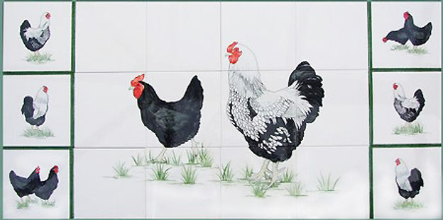 Black and White Cockerels and Hens on Hand Painted tiles