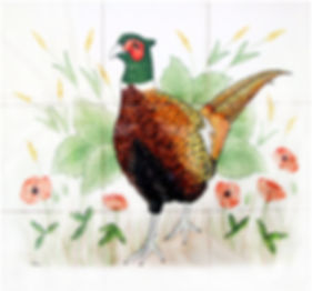 Hand painted country tiles Cock Pheasant