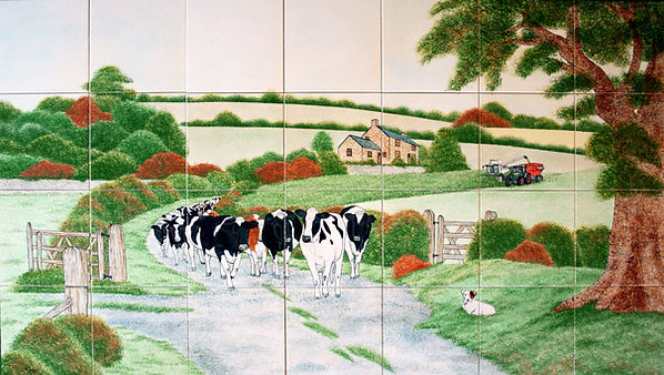 Hand painted country tiles Cow Lane scene