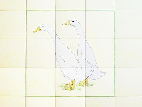 Runner Ducks on Hand Painted Tiles