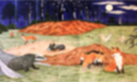 Foxes, Badgers and Owls. Hand painted country Nightlife scene