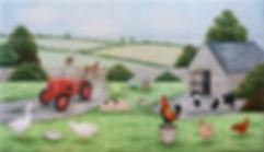 Colourful farmyard scene, hand painted