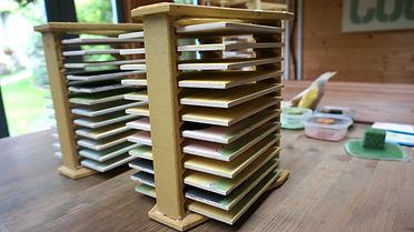 Tiles in cranks ready for the Kiln