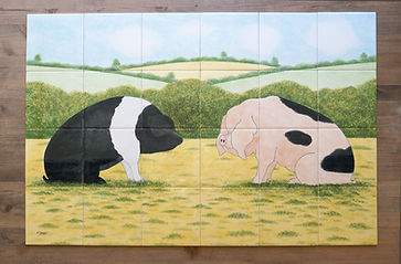 Country Tiles Sitting Pigs