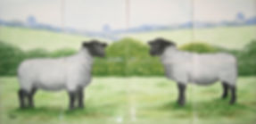Hand painted country tiles Suffolk Ewes