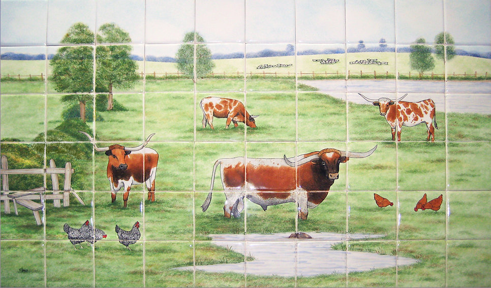 Long Horn Cattle, Hand Painted Farm Tiles