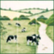 Hand painted Friesian Cow 9 tile scene