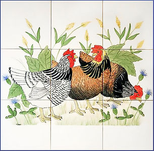 Hand Painted French Hens scene
