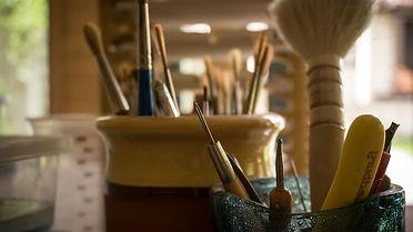 Macro shot of artist's tools