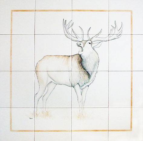 Stag on hand painted tiles
