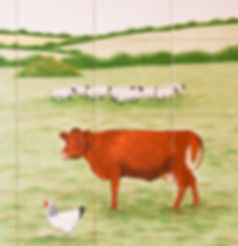 Hand painted country tiles Sheep Hen and Cow