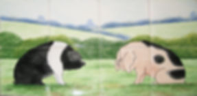 Hand painted country tiles Sitting Pigs