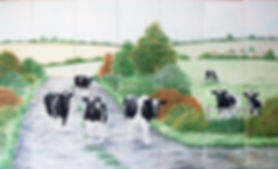 Hand painted country tiles Milk Cattle Scene