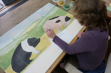 Hand painting country pig scene