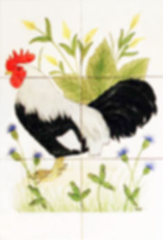 Hand painted country tiles French Cockerel