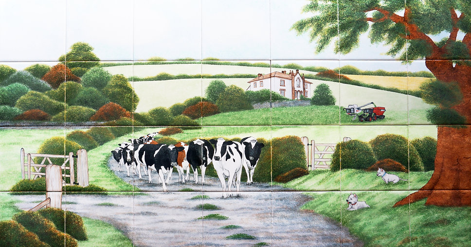 Friesian Cows walking down lane, hand painted country tiles