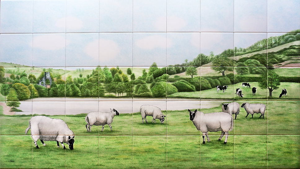 Hand painted sheep in Welsh countryside