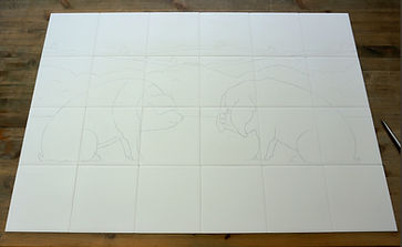 Sitting pigs sketch on tiles