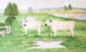 Hand painted country tiles Watermeadow Scene