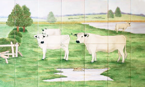Hand painted country tiles Watermeadow Scene