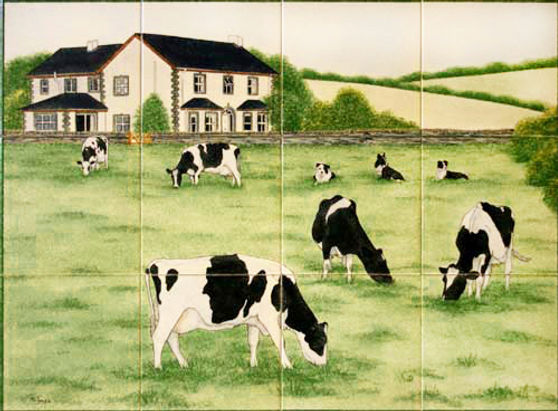 Friesian Cows and Collies outside a Farm House - Hand Painted Tiles