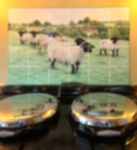 Hand pained sheep scene above an Aga