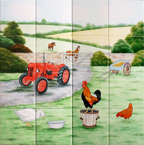 Farmyard painted scene