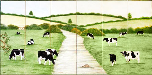 Hand painted country tiles Friesian Cows