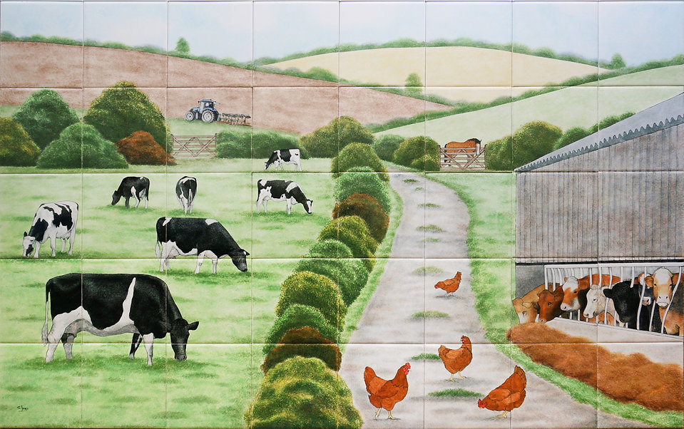 Hand painted country tile scene, farmyard animals