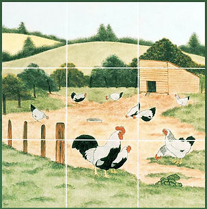 Hand painted country tiles Sussex & Dorking Fowls