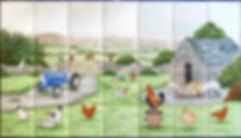 Farmyard scene with blue tractor