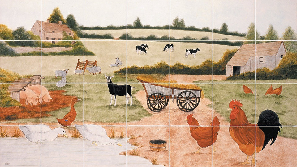 Hand painted country tiles, Farm Scene