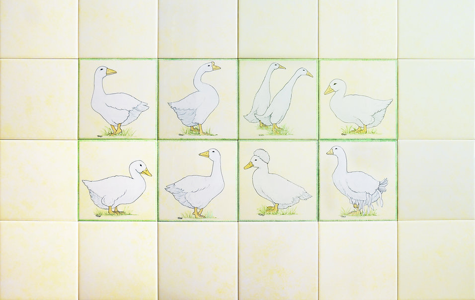 Single Tile Ducks and Geese, Hand Painted Country Tiles