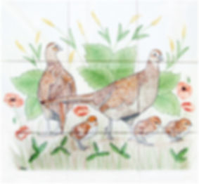 Hand painted country tiles Hen Pheasants