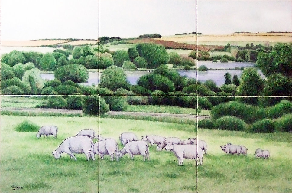 Sheep in beautiful countryside, hand painted on tiles