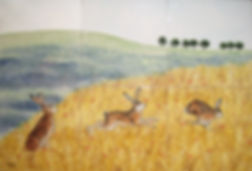 Hand painted country tiles Hares running