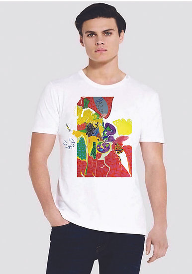 215 EPO3 Slim fit jersey Tee White Painter and Muse design