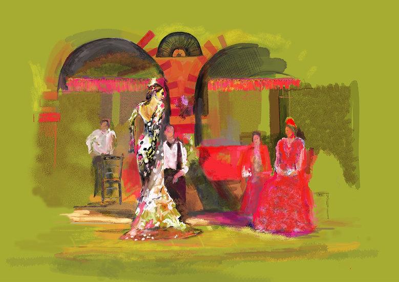 Yellow Flamenco dancer by David Winter A4 size